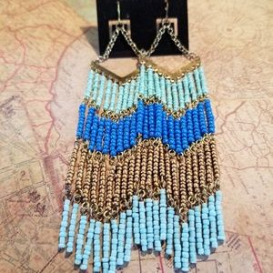 Jewelry - New turquoise,  blue, and gold, dangle, earrings